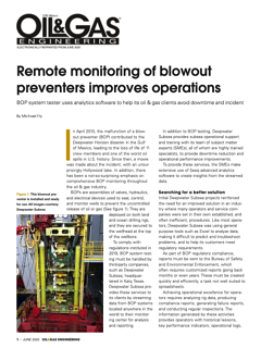 Remote monitoring of blowout preventers improves operations