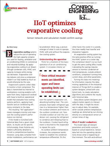 IIoT optimizes evaporative cooling